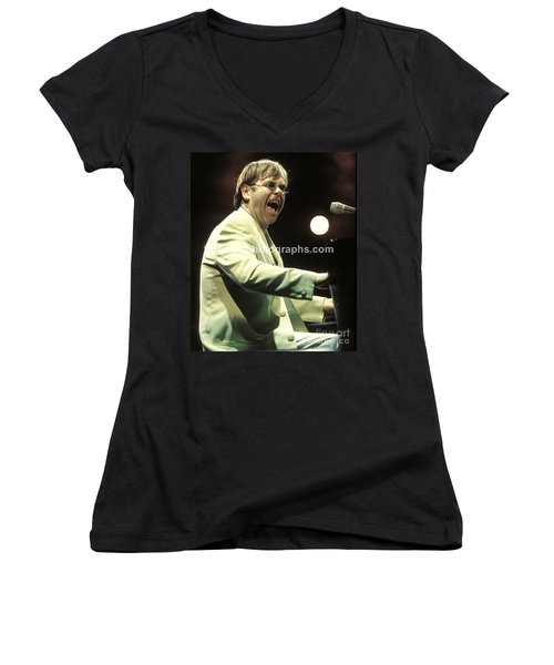 Elton John Women's V-Neck T-Shirt (Junior Cut) by Concert Photos