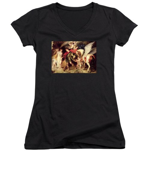 Perseus Liberating Andromeda Women's V-Neck T-Shirt (Junior Cut) by Peter Paul Rubens