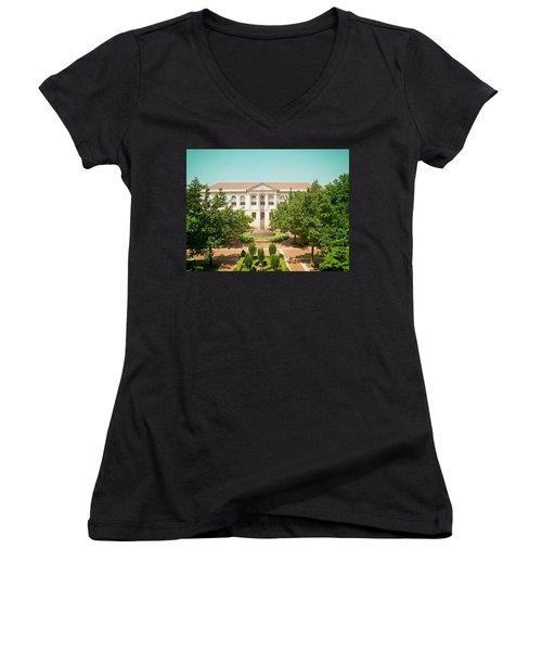 The Old Main - University Of Arkansas Women's V-Neck T-Shirt (Junior Cut) by Mountain Dreams