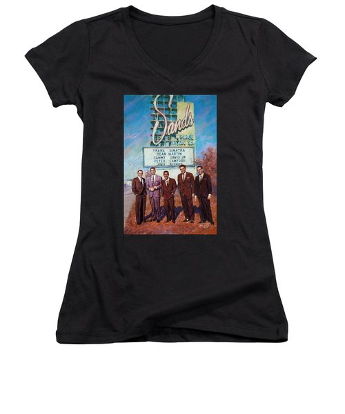 The Rat Pack Women's V-Neck T-Shirt (Junior Cut) by Viola El