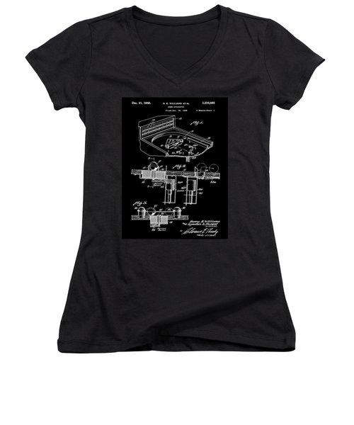 Pinball Machine Patent 1939 - Black Women's V-Neck T-Shirt (Junior Cut) by Stephen Younts