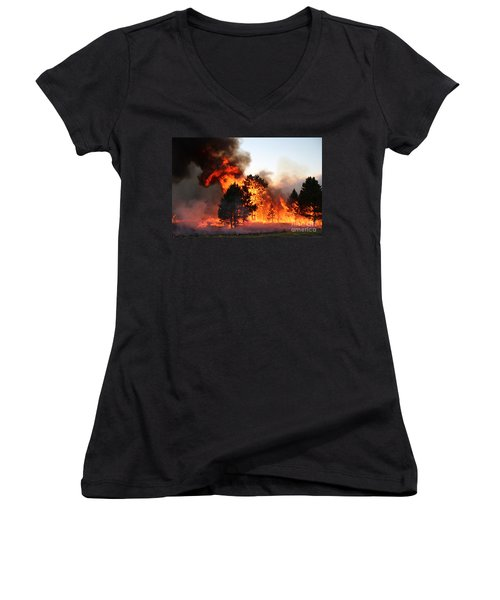 Women's V-Neck T-Shirt (Junior Cut) featuring the photograph A Burst Of Flames From The White Draw Fire by Bill Gabbert
