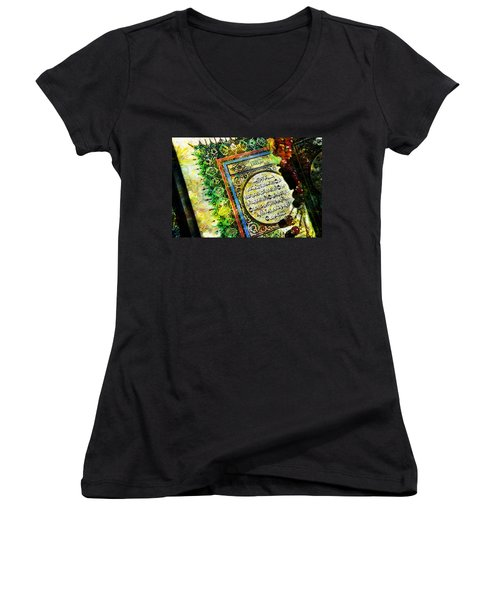 A Page From Quran Women's V-Neck T-Shirt (Junior Cut) by Catf