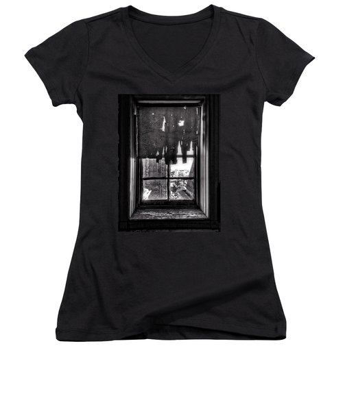 Abandoned Window Women's V-Neck T-Shirt (Junior Cut) by H James Hoff