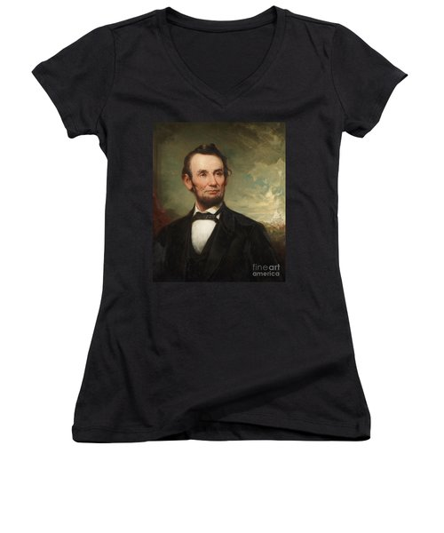Abraham Lincoln  Women's V-Neck T-Shirt (Junior Cut) by George Henry Story