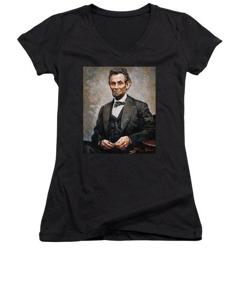 Abraham Lincoln Women's V-Neck T-Shirt (Junior Cut) by Ylli Haruni