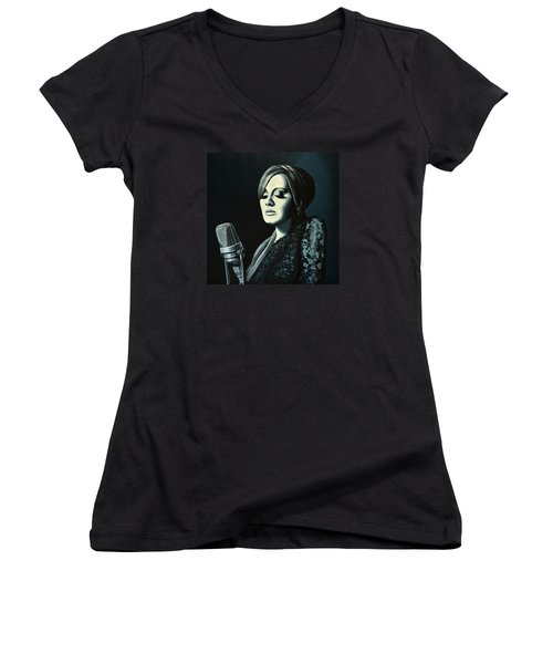 Adele Skyfall Painting Women's V-Neck T-Shirt (Junior Cut) by Paul Meijering