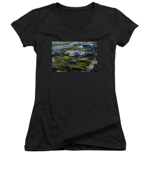 Aerial View Of The Field Museum Women's V-Neck T-Shirt (Junior Cut) by Panoramic Images