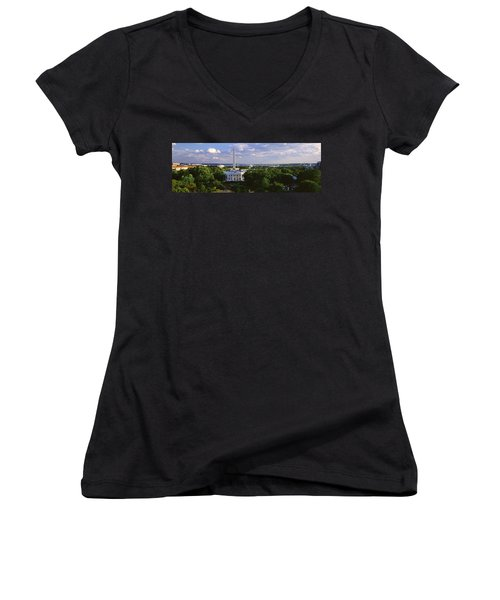 Aerial, White House, Washington Dc Women's V-Neck T-Shirt (Junior Cut) by Panoramic Images