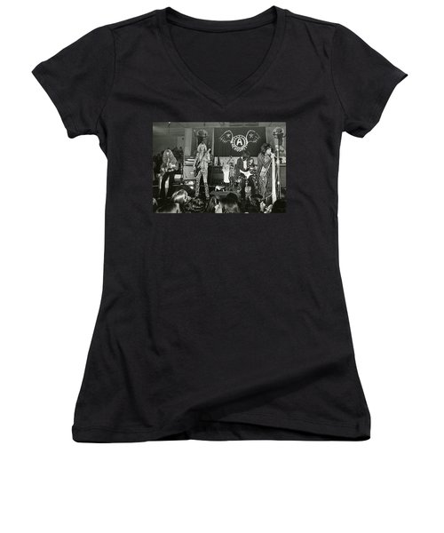 Aerosmith - Aerosmith Tour 1973 Women's V-Neck T-Shirt (Junior Cut) by Epic Rights
