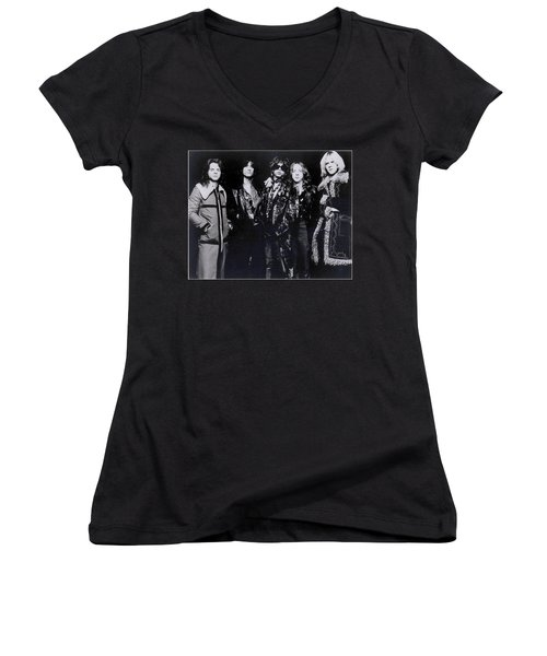 Aerosmith - America's Greatest Rock N Roll Band Women's V-Neck T-Shirt (Junior Cut) by Epic Rights