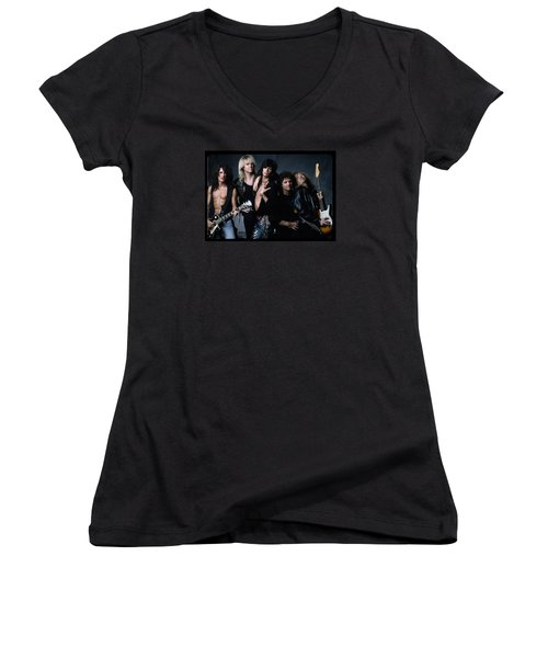 Aerosmith - Let The Music Do The Talking 1980s Women's V-Neck T-Shirt (Junior Cut) by Epic Rights