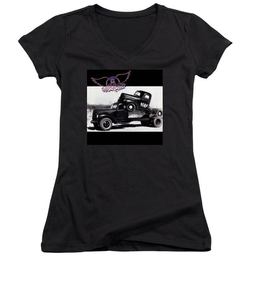 Aerosmith - Pump 1989 Women's V-Neck T-Shirt (Junior Cut) by Epic Rights