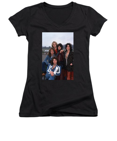 Aerosmith - Terre Haute 1977 Women's V-Neck T-Shirt (Junior Cut) by Epic Rights
