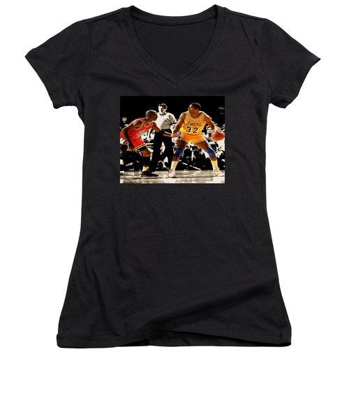 Air Jordan On Magic Women's V-Neck T-Shirt (Junior Cut) by Brian Reaves