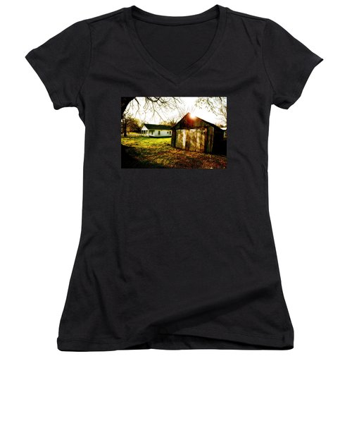 American Fabric   Mickey Mantle's Childhood Home Women's V-Neck T-Shirt (Junior Cut) by Iconic Images Art Gallery David Pucciarelli