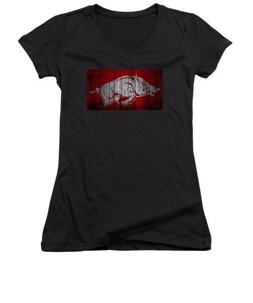 Arkansas Razorbacks Barn Door Women's V-Neck T-Shirt (Junior Cut) by Dan Sproul