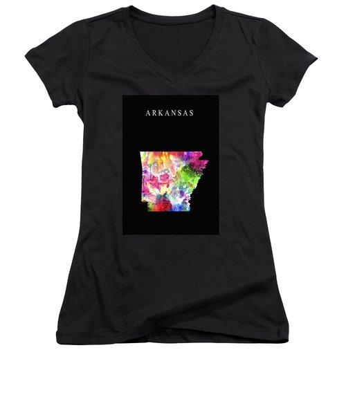 Arkansas State Women's V-Neck T-Shirt (Junior Cut) by Daniel Hagerman
