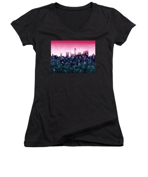 Austin Skyline Geometry 2 Women's V-Neck T-Shirt (Junior Cut) by Bekim Art