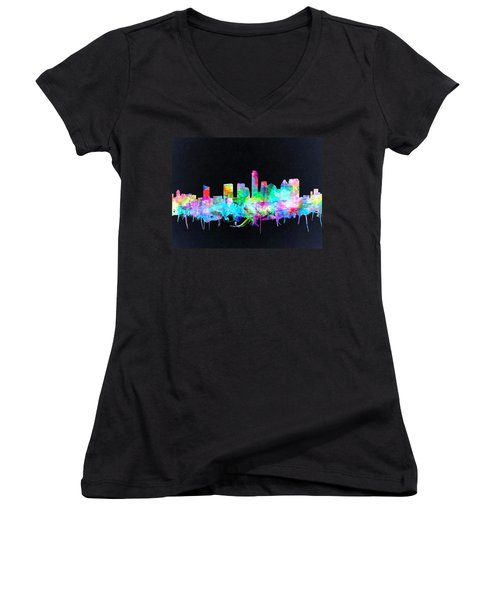 Austin Texas Skyline Watercolor 3 Women's V-Neck T-Shirt (Junior Cut) by Bekim Art