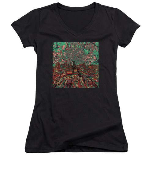 Austin Texas Vintage Panorama 3 Women's V-Neck T-Shirt (Junior Cut) by Bekim Art