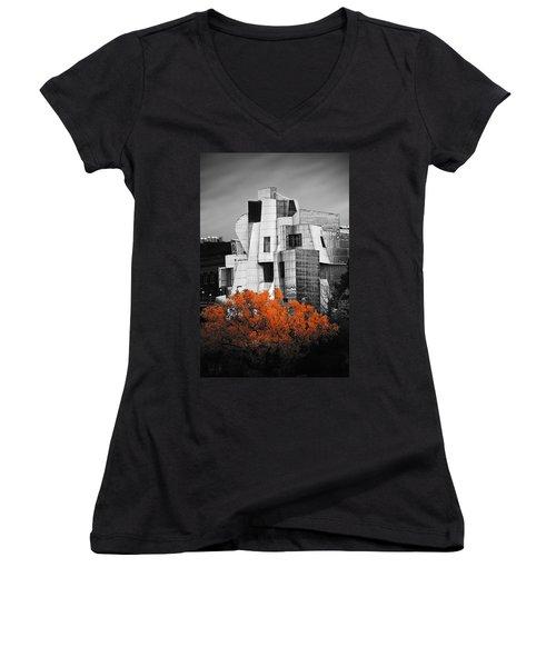 autumn at the Weisman Women's V-Neck T-Shirt (Junior Cut) by Matthew Blum