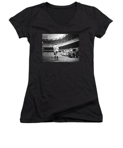 Babe Ruth Poster Women's V-Neck T-Shirt (Junior Cut) by Gianfranco Weiss