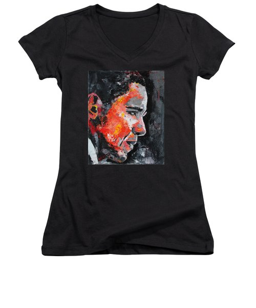Barack Obama Women's V-Neck T-Shirt (Junior Cut) by Richard Day