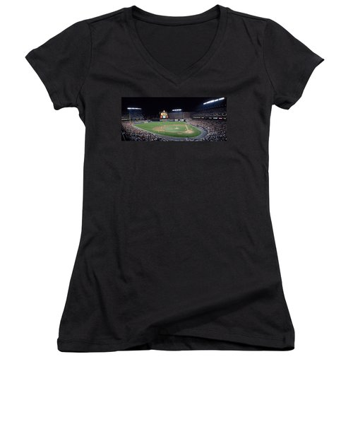 Baseball Game Camden Yards Baltimore Md Women's V-Neck T-Shirt (Junior Cut) by Panoramic Images