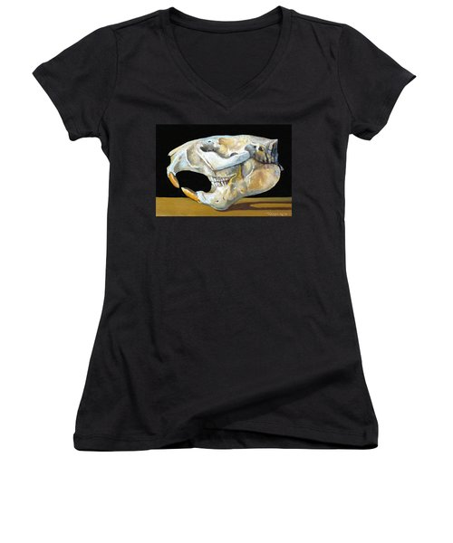 Beaver Skull 1 Women's V-Neck T-Shirt (Junior Cut) by Catherine Twomey