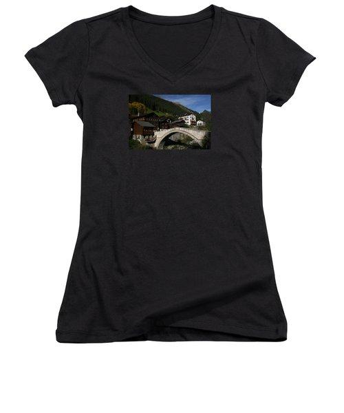 Women's V-Neck T-Shirt (Junior Cut) featuring the photograph Binn by Travel Pics
