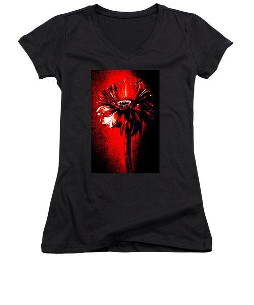Bloody Mary Zinnia Women's V-Neck T-Shirt (Junior Cut) by Sherry Allen