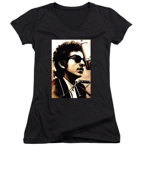 Bob Dylan Artwork 3 Women's V-Neck T-Shirt (Junior Cut) by Sheraz A