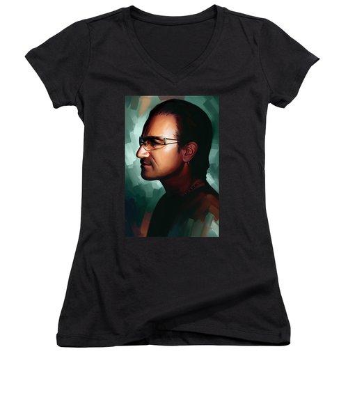 Bono U2 Artwork 1 Women's V-Neck T-Shirt (Junior Cut) by Sheraz A