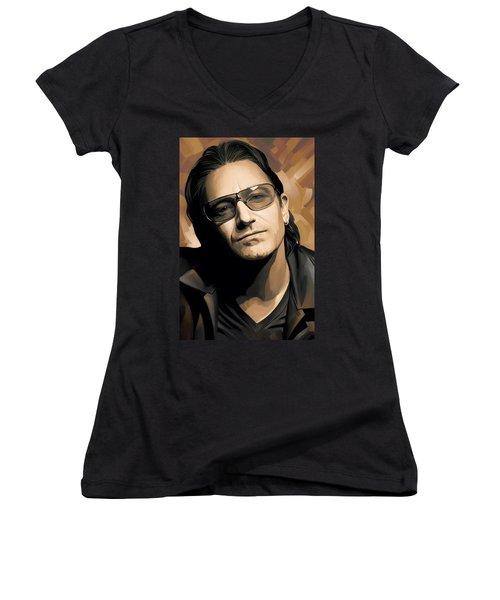 Bono U2 Artwork 2 Women's V-Neck T-Shirt (Junior Cut) by Sheraz A