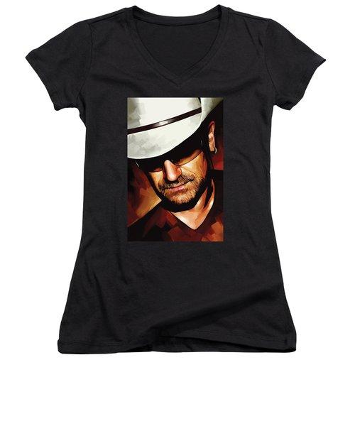 Bono U2 Artwork 3 Women's V-Neck T-Shirt (Junior Cut) by Sheraz A