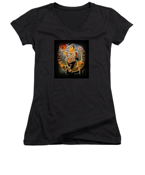 Boston Celtics Logo Women's V-Neck T-Shirt (Junior Cut) by Stephen Stookey