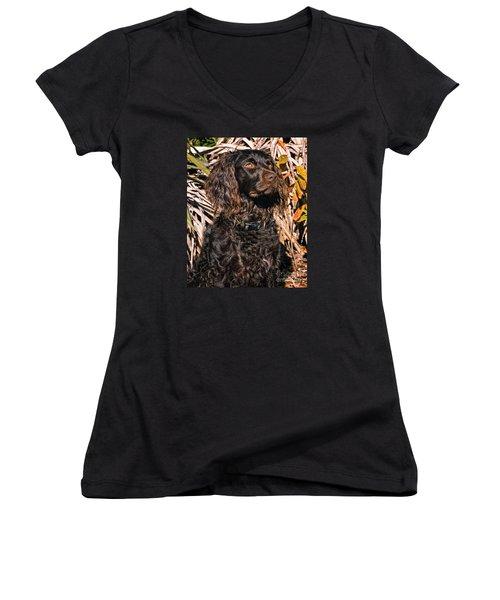 Boykin Spaniel Portrait Women's V-Neck T-Shirt (Junior Cut) by Timothy Flanigan