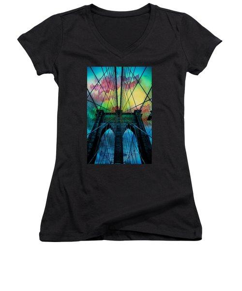 Psychedelic Skies Women's V-Neck T-Shirt (Junior Cut) by Az Jackson