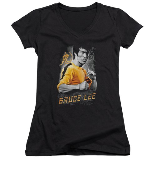 Bruce Lee - Yellow Dragon Women's V-Neck T-Shirt (Junior Cut) by Brand A