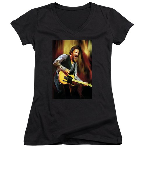 Bruce Springsteen Artwork Women's V-Neck T-Shirt (Junior Cut) by Sheraz A