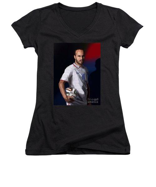 Captain America Women's V-Neck T-Shirt (Junior Cut) by Jeremy Nash