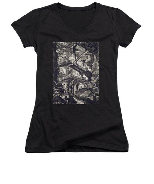 Carceri Vii Women's V-Neck T-Shirt (Junior Cut) by Giovanni Battista Piranesi
