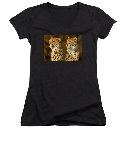 Cheetah Brothers Women's V-Neck T-Shirt (Junior Cut) by David Stribbling