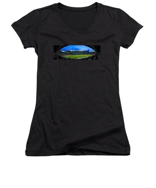 Chicago Bears At Soldier Field Women's V-Neck T-Shirt (Junior Cut) by Steve Gadomski