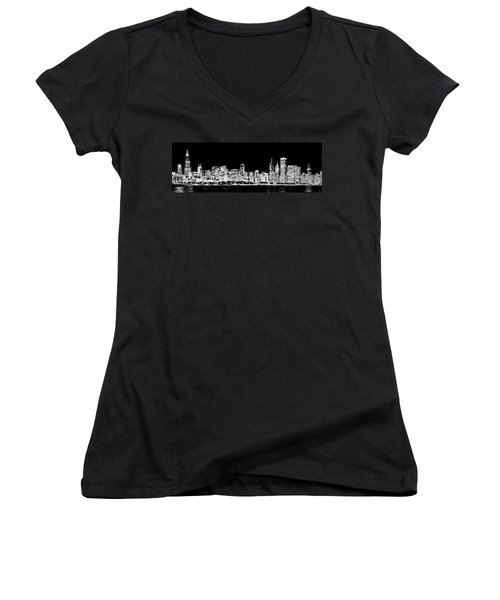 Chicago Skyline Fractal Black And White Women's V-Neck T-Shirt (Junior Cut) by Adam Romanowicz