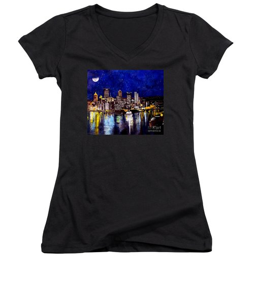City Of Pittsburgh At The Point Women's V-Neck T-Shirt (Junior Cut) by Christopher Shellhammer