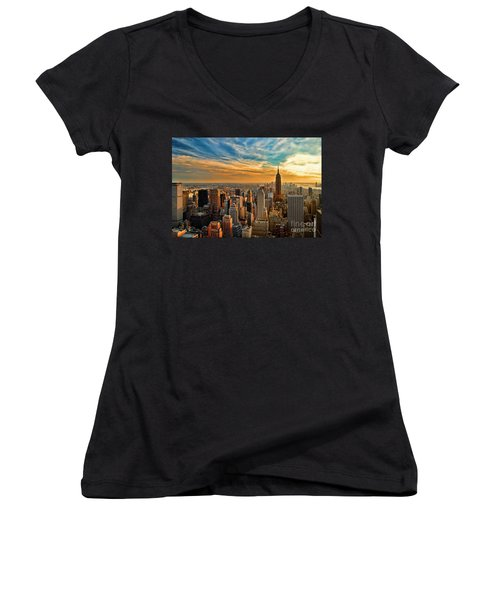 City Sunset New York City Usa Women's V-Neck T-Shirt (Junior Cut) by Sabine Jacobs