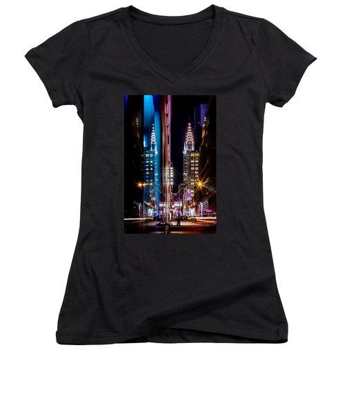 Color Of Manhattan Women's V-Neck T-Shirt (Junior Cut) by Az Jackson