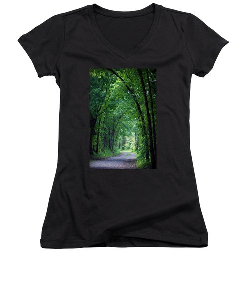 Country Lane Women's V-Neck T-Shirt (Junior Cut) by Cricket Hackmann